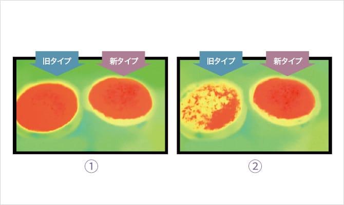 5秒後の導子表面温度をサーモグラフィで測定